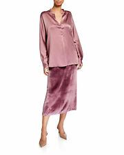 $325 Vince Long Panne Velvet Pink Skirt ** US 14