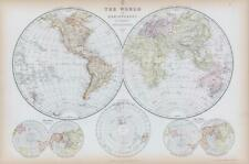More details for 1882 large antique map world double hemispheres polar projections blackie (ba56)