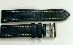 GENUINE Breitling 22-20mm Blue & White Stitched LEATHER STRAP STAINLESS BUCKLE