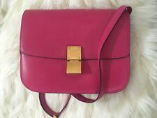100% Authentic Celine Medium Classic Box hibiscus hot pink gold hardware Bag