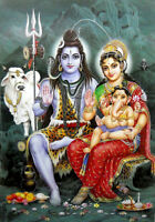 "Lord Shiva Family large Hindu God poster with Glitter effect (24""x35""-gpd2504)"