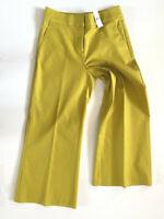 NWT Loft Women Yellow Lime Wide Leg Riviera Cropped Pants Regular Petite
