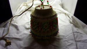 Vintage Lawnware Beige Beaded Hanging Light/Lamp-Works