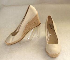 MERONA Wedge Espadrilles Shoes Classy Ecru/Gold Textile Penelope Sz 9.5 *XLNT+++