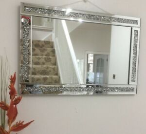 loose diamond diamante gems jewelled mirror 60x40cm lounge bedroom bling sparkle