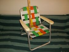 Vtg Retro Child's Size Aluminum Webbed Folding Lawn Patio Chair