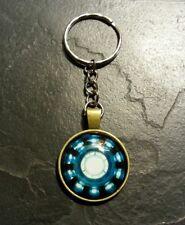 Avengers Iron Man Stark Arc Reactor Glass Key Chain Ring Charm Comic Movie Gift