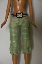Barbie Doll Clothes Cropped Green Trousers Capri Pants with Cat Belt
