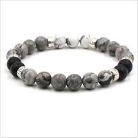 Women Men Healing Balance 8MM Beaded Bracelet Yoga Reiki Prayer Stones Bracelets