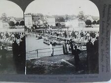 WW1 FRENCH TROOPS CROSSING THE MARNE BY PONTOON BRIDGE! KEYSTONE STEREOVIEW CARD