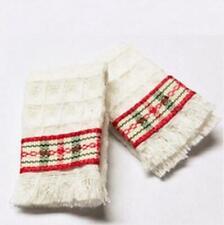 Dollhouse Christmas Bath Towel Pair Red & Green Plaid Holiday Miniature