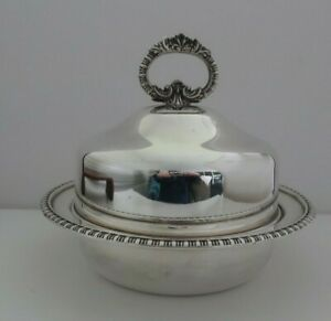 vintage HECWORTH REPRODUCTION silver plated Lidded MUFFIN DISH serving dish