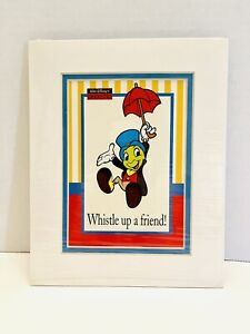 1992 Walt Disney Studios Jiminy Cricket Give A Little Whistle Matted Lithograph