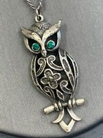Vintage Bohemian Green Crystal Wyes Owl Spirit Animal Boho  Pendant Necklace 16""
