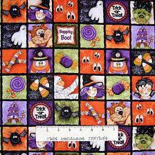 Halloween Fabric - Boppity Boo Scary Motifs Square Patch - Red Rooster YARD