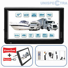 "MOTORHOME CARAVAN BOAT 12V 12"" Inch Portable LCD TV Freeview HD 12 Volt USB &PVR"
