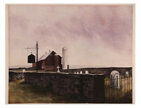 VINTAGE WATERCOLOR PAINTING FARM BARN CEMETERY LANDSCAPE SCENE PENNSYLVANIA ART