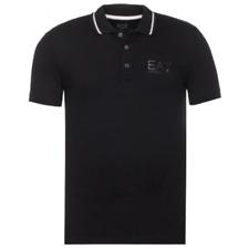 EMPORIO ARMANI mens NEW EA7 slim fit  polo t shirt top black cotton with collar