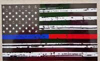 """MAGNET Thin Blue Red Line FireFighter Police respect flag  3"""" x  5"""" HEAVY DUTY"""