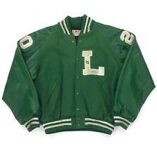 Vintage Highschool Football Varsity Letterman Jacket Size Xl Green 'L' #20 Wool