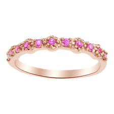Round Cut Pink Sapphire Fashion Band Ring in 14K Rose Gold