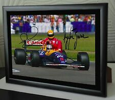 "Nigel Mansell & AYRTON SENNA F1 RARO INCORNICIATO TELA STAMPA FIRMATA ""GRANDE REGALO"""