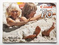 Bedienungsanleitung Beschreibung Canon T70 T 70 Kamera