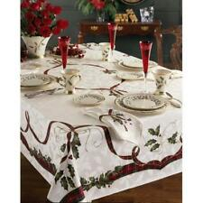 "LENOX HOLIDAY NOUVEAU CHRISTMAS TABLECLOTH 60 x 104"" RECTANGLE & 12 NAPKINS $250"