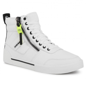 Diesel S-Dvelows Mens UK 6.5 EU 40 Star White Leather High Top Trainers Sneakers