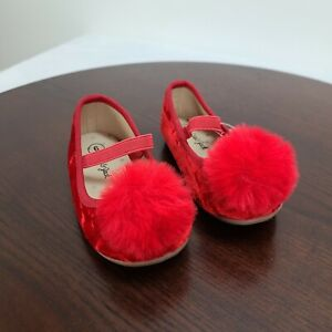 Cat & Jack Size 6 Toddler Girls Mary Jane Ballet Flats Red Velvet Faux Fur Poms