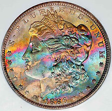 1886 NGC MS 64 * High Grade Monster Rainbow Toning ** Spectacular Colors *