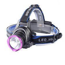 5000LM CREE XML T6 LED 3Modes 18650 Tactical Headlamp Headlight Purple-Head NEW