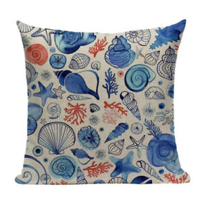 Shells and Coral Cushion Cover, nautical, indoor/outdoor, beach, blue