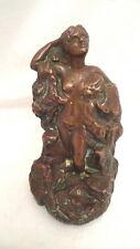 "Antique Bronze Clad Statue Figurine Gazing Nude 8"" Tall"