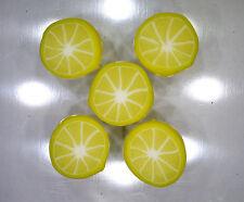 Handmade polymer clay flat circular beads – Lemon Citrus slices