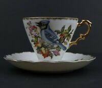 Nikoniko China Tea Cup & Saucer Set Hand Painted Blue Jay Gold Trim EW-345