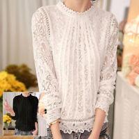 Women Round Neck Casual Long Sleeve Chiffon Shirt Blouse Ladies Summer Loose Top