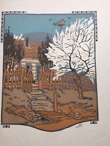 Vintage 1912 original colour woodblock print, April, by Gustave Baumann