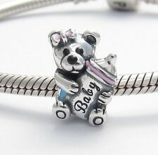 TEDDY BEAR with BABY BOTTLE CHARM Sterling Silver.925 for European Bracelets 460