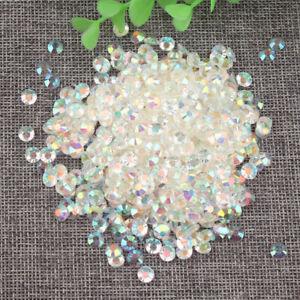5000 pcs Rhinestone AB Milk Jelly 2mm 3mm 4mm 5mm 6mm Flatback Resin Crystal #01