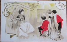 Art Nouveau 1903 Postcard: Children, Boy Painting Girl's Portrait
