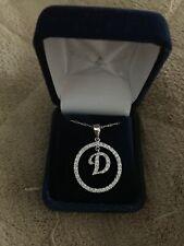 "Diamond Circle Pendant with Diamond Letter ""D"" Necklace"