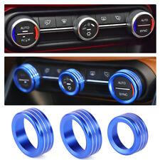 3x Blau Klimaanlage Drehknopf Blende Leiste Abdeckung Für Alfa Romeo Giulia 2017