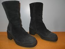 Vintage 60s Black Suede Winter Lined Boots Rockabilly Retro Boho Mod Snow Heel 6