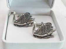 Swan Cufflinks in Fine English Pewter, Gift Boxed