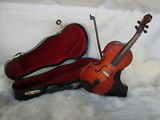 "VIOLIN Music Box Miniature 6"" Long Wood With Case & Stand Plays SWAN LAKE NIB"