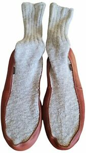 Acorn Slipper Socks. Rag Wool Sock. Leather Foot  Mens 11-13 Pre-owned ☆