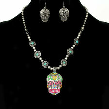 TURQUOISE FLOWER SUGAR SKULL GOTHIC WESTERN NECKLACE EARRINGS SET PINK BLUE