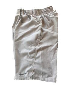 Nike Boys White Silver Boarder NET Tennis Shorts Sz Medium