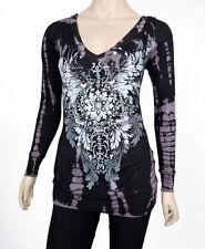 Sugar Rock Women Tunic Hoodie Shirt L/s Tribal Rhinestone Tie Dye Black Purple